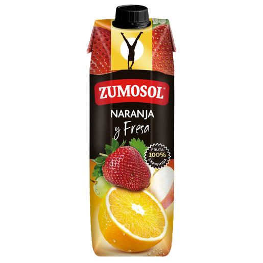ZUMOSOL zumo de naranja y fresa envase 1 lt