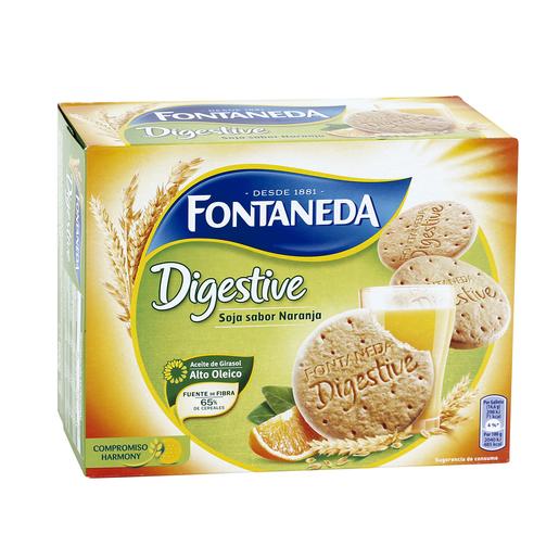 FONTANEDA galletas digestive soja sabor naranja caja 600 gr