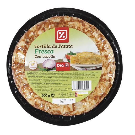 DIA tortilla de patatas con cebolla envase 500 gr
