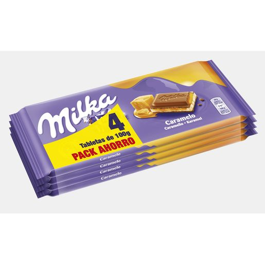 MILKA chocolate con caramelo tableta pack 4 x 100 gr