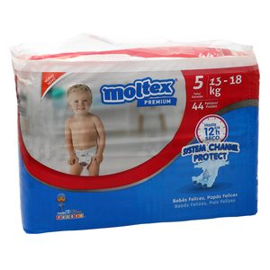 MOLTEX Premium pañales system channel protect 13-18 kgs talla 5 paquete 44 uds