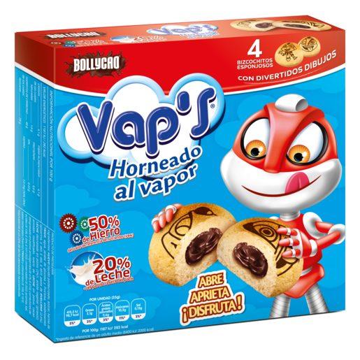 BOLLYCAO Vap`s bizcochito esponjoso relleno de cacao 4 uds caja 140 gr