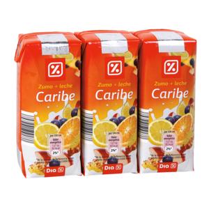 DIA bebida de frutas con leche caribe pack 3 unidades 33 cl