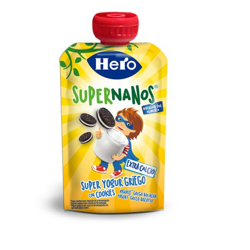 HERO Supernanos super yogurt griego con cookies pouch 100 gr