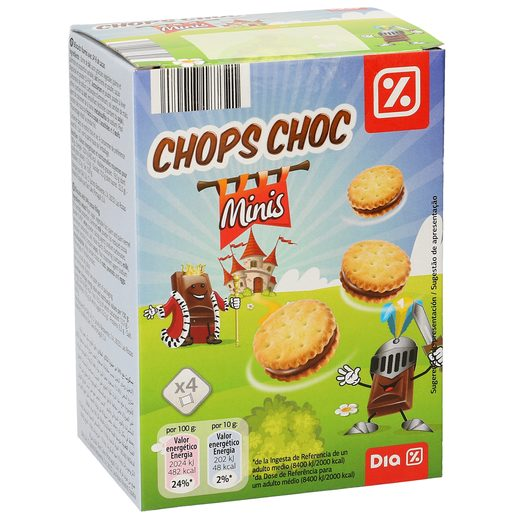 DIA mini galletas rellenas de chocolate chops choc caja 160 gr