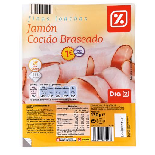 DIA jamón cocido primera braseado lonchas finas sobre 130 gr