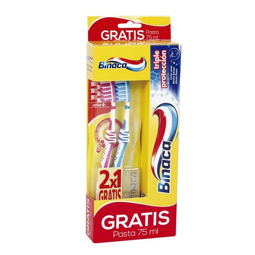 BINACA 2 cepillos dentales active + pasta dentífrica gratis