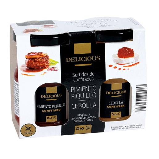 DIA DELICIOUS surtido de confitados pimiento piquillo/cebolla pack 2x170 gr