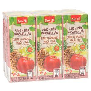 DIA zumo piña manzana y uva pack 6 unidades 200 ml