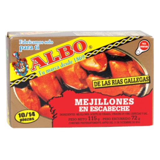 ALBO mejillones en escabeche 10/14 piezas lata 72 grs