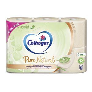 COLHOGAR papel higiénico pure natural paquete 6 uds