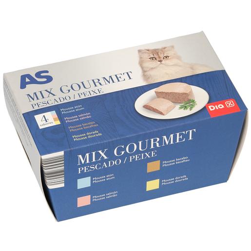 AS alimento para gatos gourmet mix pescado pack 4 x 85 gr