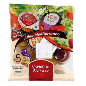 CAPRICHO ANDALUZ set aliño aceite de oliva y vinagre bolsa 5+5 uds