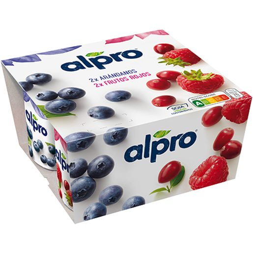 ALPRO yogur de soja sabor arándanos y frutos rojos pack 4 unidades 125 gr
