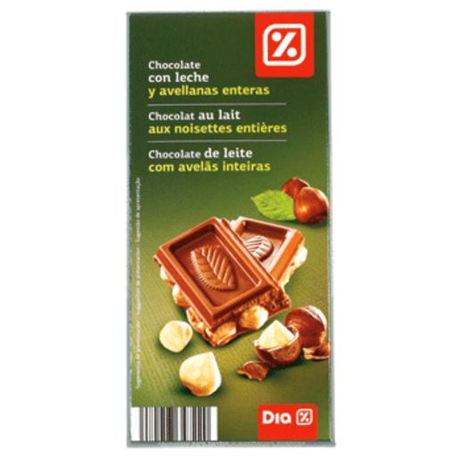 DIA chocolate con leche y avellanas enteras tableta 200 gr