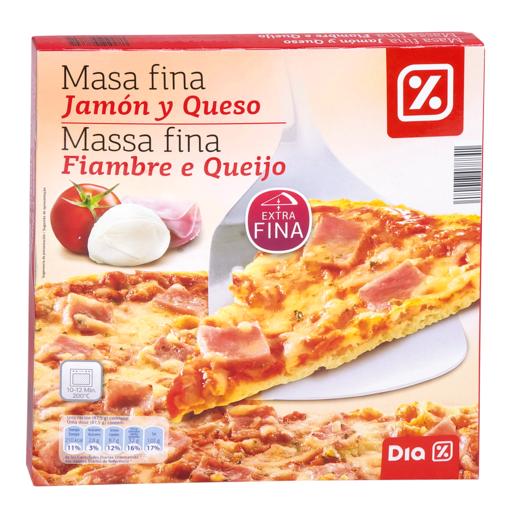 DIA pizza masa fina jamón y queso caja 350 gr