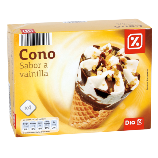 Dia helado cono vainilla caja 4 uds 252 gr conos supermercados dia - Calorias de un cono de helado ...