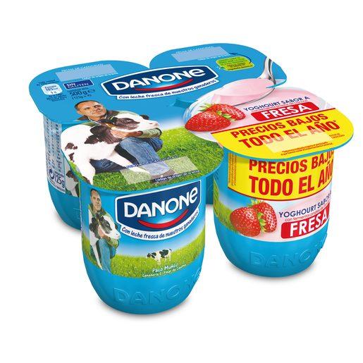DANONE yogur fresa pack 4 unidades 125 gr