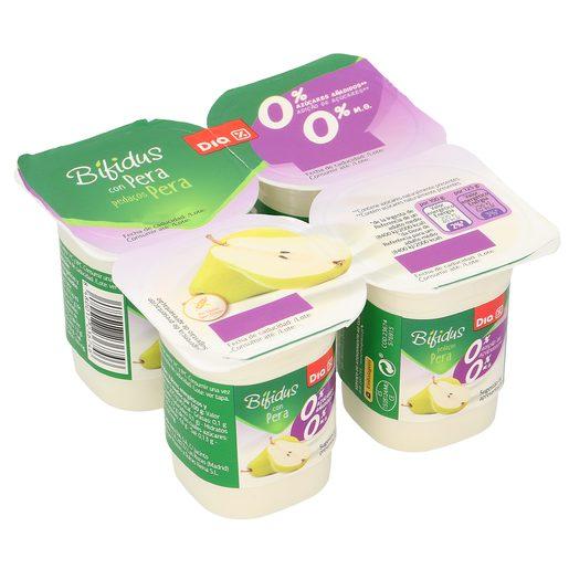 DIA yogur bífidus con pera 0% M.G pack 4 unidades 125 gr