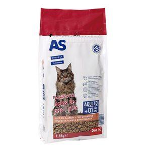 AS alimento para gatos control bolas de pelo rico en salmón con guisantes bolsa 1.5 Kg