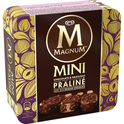 MAGNUM helado mini praliné caja 6 uds 276 gr