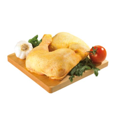 Cuartos traseros de pollo amarillo bandeja (peso aprox. 800 gr)
