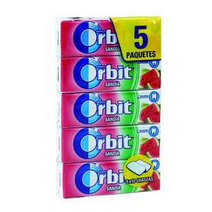ORBIT chicle grageas sabor sandia paquete 5 uds