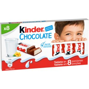 KINDER barrita chocolate 8 unidades 100 gr