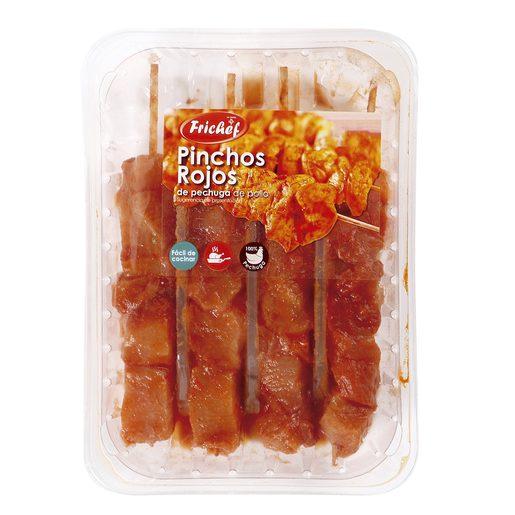 Pinchos rojos de pechugas de pollo bandeja 320 gr
