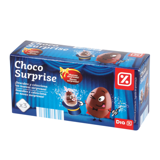 DIA huevos sorpresa chocolate pack 3 caja 60 gr