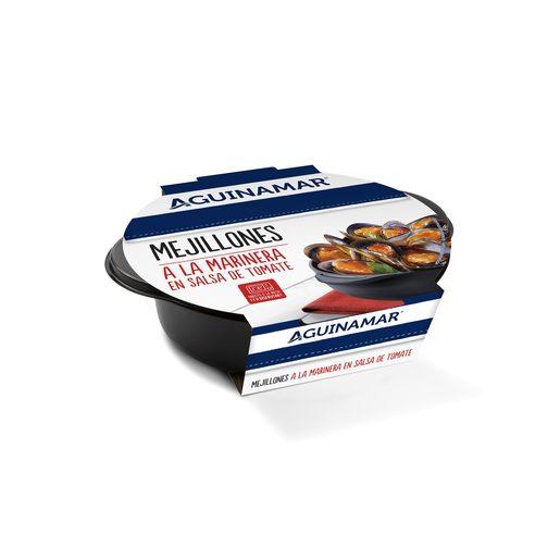 AGUINAMAR mejillón a la marinera en salsa de tomate tarrina 400 gr