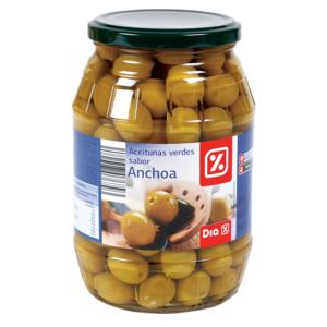 DIA aceitunas verdes con hueso sabor anchoa frasco 500 gr