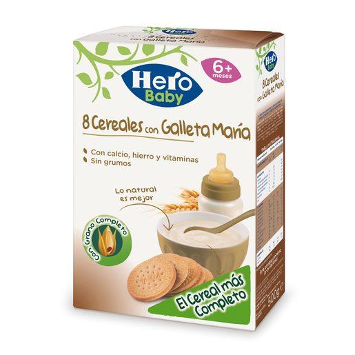 HERO Baby papilla 8 cereales con galleta maría caja 500 gr