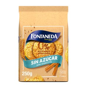 FONTANEDA galletas mini digestive con canela 0% azúcares añadidos bolsa 250 gr