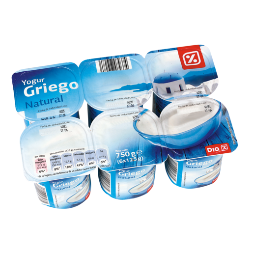 DIA yogur griego natural pack 6 unidades 125 g