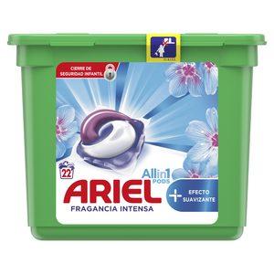 ARIEL Pods detergente máquina todo en uno efecto suavizante en cápsulas 22 uds