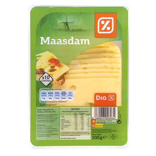 DIA queso maasdam lonchas envase 200 g