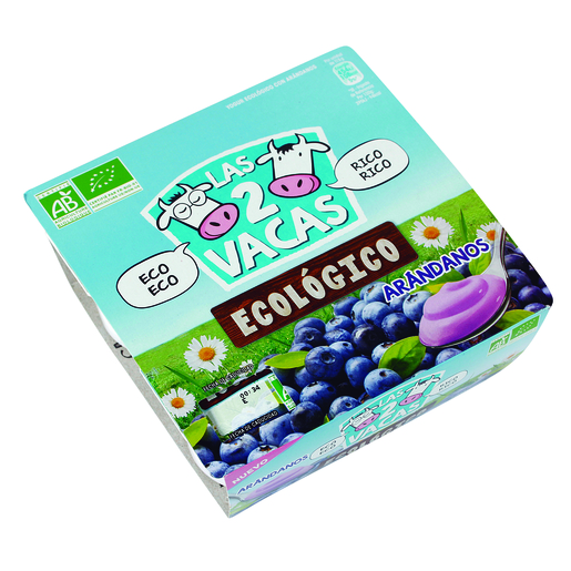 LAS 2 VACAS yogur ecológico con arándanos pack 4 unidades 115 gr