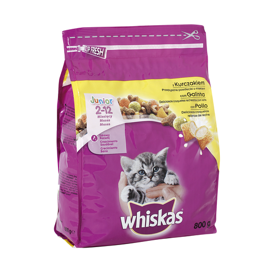 WHISKAS alimento para gatos junior con pollo bolsa 800 gr