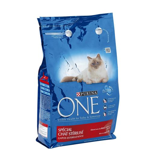 PURINA One alimento para gatos esterilizados rico en buey bolsa 3 Kg