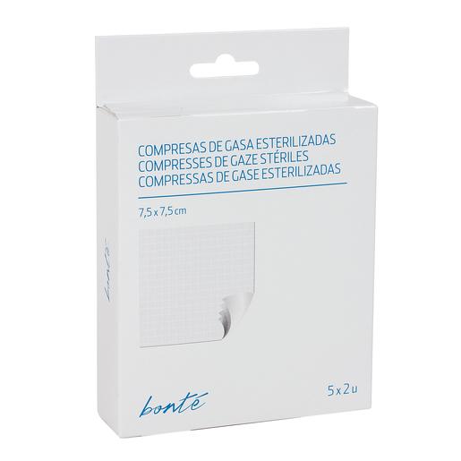 BONTE compresas de gasa esterilizadas 7,5 x 7,5 cm caja 5 x 2 uds