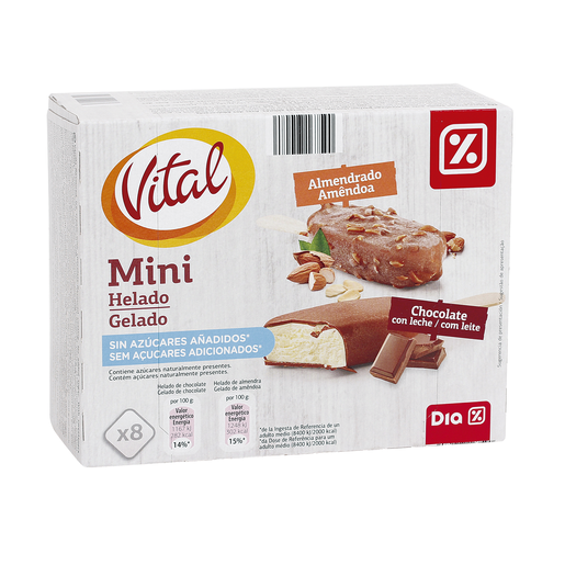 DIA VITAL helado mini bombón chocolate y almendras sin azúcares caja 288 gr