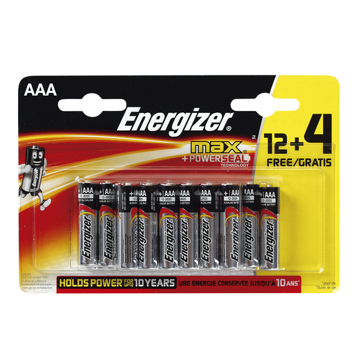 ENERGIZER pila alcalina AAA blíster 12 + 4 uds