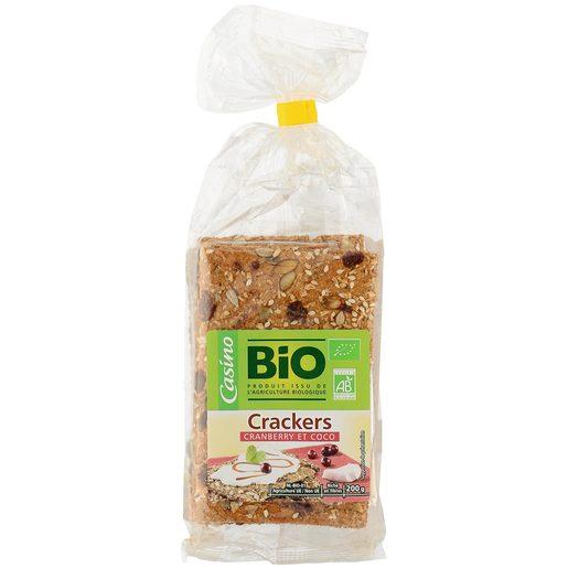 CASINO BIO galletas crackers con arándanos rojos y coco bolsa 200 gr