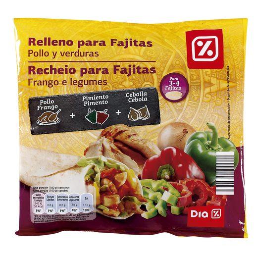 DIA relleno para fajitas pollo y verduras bolsa 300 gr