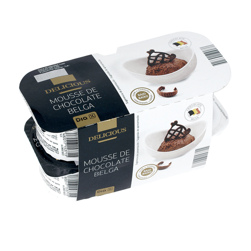 DIA DELICIOUS mousse de chocolate belga pack 4 unidades 60 gr