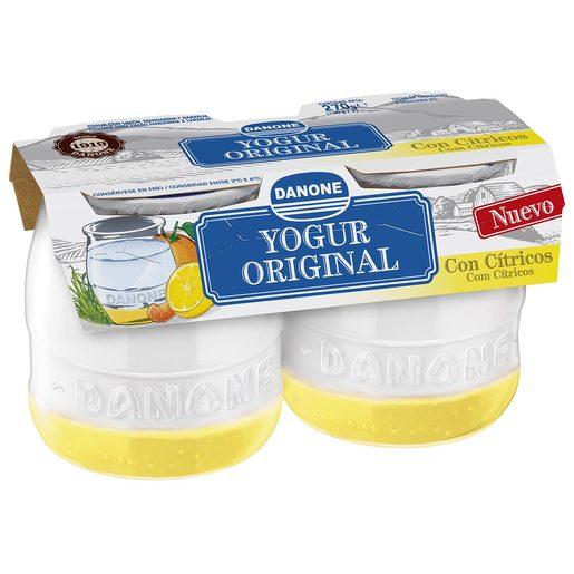 DANONE yogur original con cítricos pack 2 unidades 135 gr