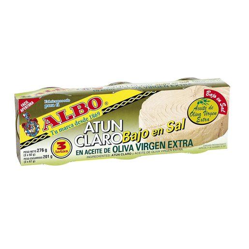 ALBO atún claro en aceite de oliva virgen extra bajo en sal pack 3 latas 67 gr