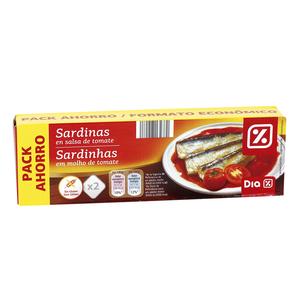 DIA sardinas en salsa de tomate pack 2 x 78 gr