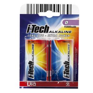 DIA pilas D grandes i-tech alkaline 2 ud
